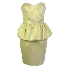 DOROTHY PERKINS GOLD BANDEAU PEPLUM DRESS UK Size 8