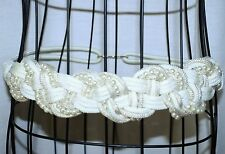 """Vintage Woven Cord and Faux Pearl Cream & Gold Belt 32"""""""