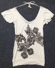 New Look Size 8 White Black Floral Pattern Loose Thin Soft Top Tshirt Floaty New