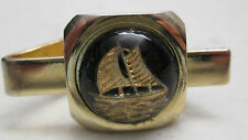 Vintage Ship Tie Clasp Clip Short Bubble Gold Tone Reverse Glass Painted