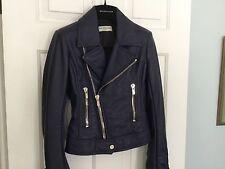 Balenciaga Leather Moto Jacket Silver Zips NEW Cobalt Blue  (34)