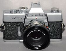 MINOLTA srT201 35mm VINTAGE SLR Film Camera MD f/2 50mm Lens JAPAN