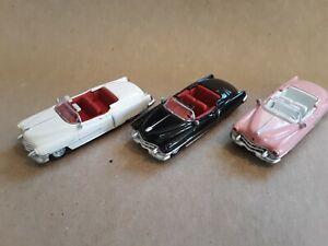 HO 1/87 1953 CADILLAC ELDORADO CONVERTIBLES - 3 WHITE/BLACK/PINK NEW W/O BOX