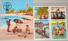NIGER 1982 796-99 Block 37 586-590 Boy Scouts Pfadfinder in Boats Boote MNH