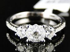 14K Mujer Oro Blanco Redondo Corte Compromiso Diamante 3 Anillo con Piedra 3/