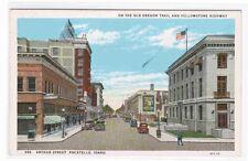 Arthur Street Pocatello Idaho 1920c postcard