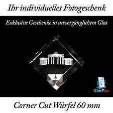 3D Corner Cut Würfel Glas Kristall Geschenk Foto Graviert Glasfun 60x60x60 mm