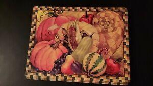 4x Vintage Kitchen Dining Room Placemats Mats Cork Board Fall Design Pumpkin
