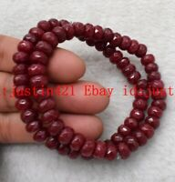 2 Pcs 5x8mm Natural Red Ruby Gemstone Abacus Beads Bracelet 7.5'' AAA