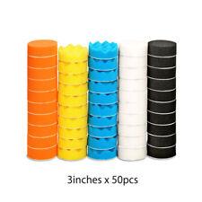 "50Pcs 3"" Inch 75mm Buffing Polishing Sponge Pads Kit For Car Polisher Wax Tool"