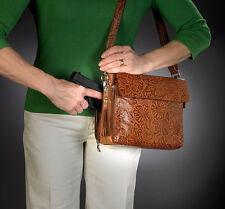 CONCEALED CARRY GUN TOTE'N MAMAS TOOLED LEATHER SHOULDER PURSE HANDBAG CCW - TAN