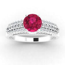 Neues AngebotRund Edelstein Zertifiziert 0.84 CT Natürlich Diamant Echt Rubinring 14K Weiß