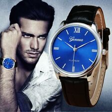 Men's Designer Watch with Sapphire Blue Face & Black Crocodile Leather Strap