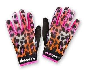 RocRide Animalz Cycling Gloves Pink Leopard. Full-Finger Screen Compatible Tips