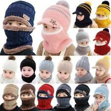 Boy Girls Warm Knit Beanie Hat Toddler Kids Winter Ski Cap Circle Scarf Set HOT