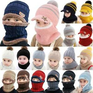 Toddler Kid Baby Knitted Beanie Hat Snood Scarf Set Boy Girl Warm Ski Cap Winter