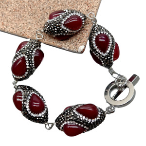 Rice Red agate trimmed with black rhinestone wrap Bracelet 8""