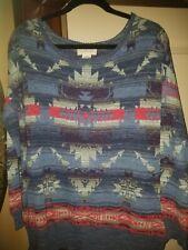 NWT DENIM & SUPPLY Ralph Lauren Knit Top Sweater Tribal Blue Navajo Aztec M Ikat