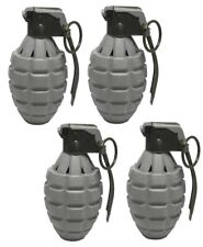 4 Gray Toy Pineapple Hand Grenades with Sound Effects