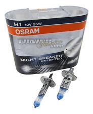 2x Osram H1 NightBreaker UNLIMITED Plus +110% 55W Bulbs for LOW BEAM LIGHT