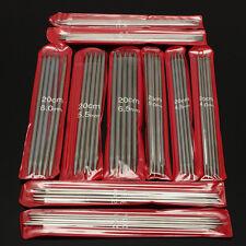 11-Set 55PCS Stainless Steel Double Point Knitting Needles 20cm Length 2.0-6.5mm