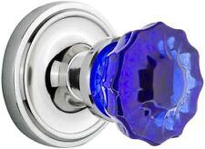 Nostalgic Warehouse Classic Rosette Double Dummy Crystal Cobalt Glass Door Knobs