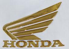 Coppia Scritte e ALI Honda 3d resinate adesive ORO-3D Honda wings Gold