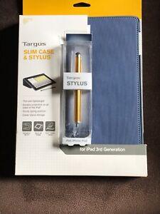 NEW Targus Slim Case & Stylus Blue for Ipad 3rd Generation Magnetic On