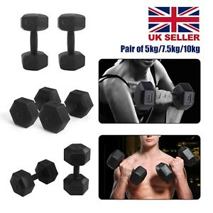 2x 5kg/7.5kg/10kg Dumbbells Set Hexagon Dumbbell Home Exercise Workout Wight in