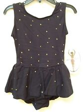 Girls Jacques Moret Dance Fashion Basic Black Gold Tank Skirtall Sz M 8-10