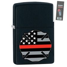 Zippo 29553 Firefighter Red Line Black Matte Finish Lighter + FLINT PACK
