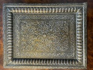 Persian Silver, Bronze Brass & Niello Enamel Floral Ghalamzani Rectangular Tray