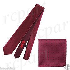 New Men's Brand Q Microfiber Reversible Necktie & Hankie Set Dots Burgundy Black