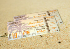 SAMPLE Destination Beach Holiday Abroad Boarding Pass Ticket Wedding Invitation