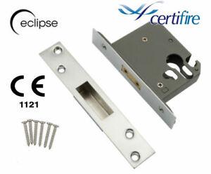 Euro Profile Mortice Deadlock Cylinder Lock Case 64mm or 76mm Brass/Satin Chrome
