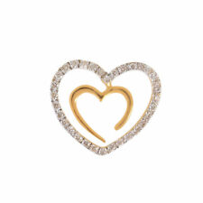 Classy 0.28 Cts Natural Diamonds Heart Pendant In Fine Hallmark 18K Yellow Gold
