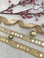 "1"" Rose Gold Christmas Ribbon - Merry Christmas Print on Natural - Gold Silver"