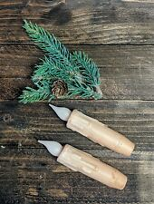 """4"""" Grungy Battery Operated Taper Candles with Timer- set of 2 - Primitive white"""
