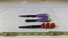 (2) Grape Handled Spreaders / Knives + 1 Strawberry Handled Knife