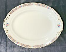 "VINTAGE RARE? CROWN POTTERIES SMALL OVAL SERVING PLATTER 11-1/4"" FLORAL &SCROLL"