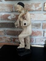 Antique plaster of Paris Pierrot playing mandoline statue figure