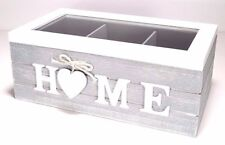 Shabby Chic GREY Storage Tea Box Wooden With 3 Compartsments And HOME Word #4