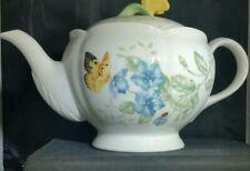 LENOX Butterfly Meadow Large Teapot Artist Louise Le Luyer Tea Pot White Floral