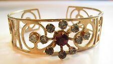 "Vintage Gold Tone Cuff Bracelet Rhinestone Center Flower 3/4"" wide Costume Vtg"