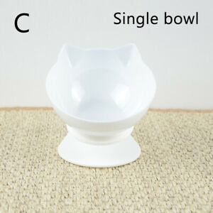 Durable Cat Bowl Double Bowls Pet Food Water Feeder With Raised Stand Non-slip C