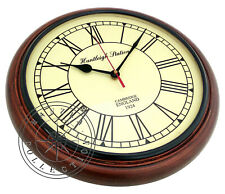"Huntleigh Station Antique Style 12"" Wooden Wall Clock Nautical Home/Office Decor"