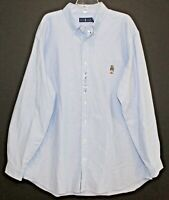 Polo Ralph Lauren Big Tall Mens Blue Polo Bear Oxford Button-Front Shirt NWT XLT
