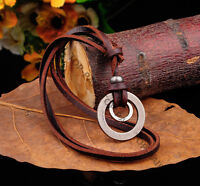Trendy Mens Punk Beach Vintage Leather Choker Necklace Retro Double Ring Pendant
