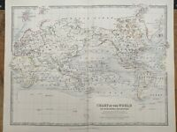 1880 WORLD CHART HAND COLOURED ORIGINAL ANTIQUE MAP BY JOHNSTON