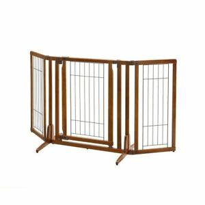 """Richell Premium Plus Freestanding Pet Gate with Door Brown 34"""" - 63"""" x 20.5"""" - 2"""